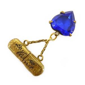 Antique Edwardian 'Love Is Blind' Gold Filled Glasses & Blue Glass Heart Charm