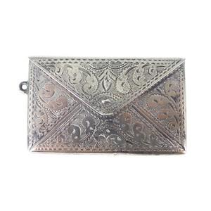 Antique Edwardian Engraved Silver Envelope Double Stamp Holder Pendant Charm