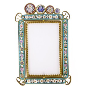 Antique Edwardian Micro Mosaic Floral Tesserae Picture Frame