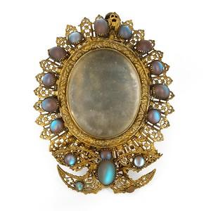Antique Edwardian Saphiret Glass Cabochon Gold Filigree Photoframe サフィレット
