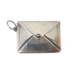 Antique Art Deco Solid Silver Envelope Stamp Holder Charm Pendant