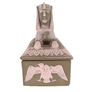Antique Art Deco Egyptian Revival Ceramic Sphinx Pharaoh Trinket Box