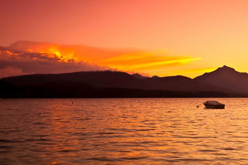 Rising sun at Lake MacDonald, Glacier National Park.