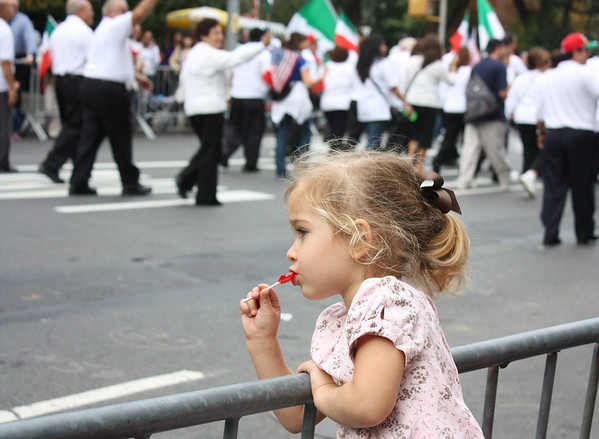 Watching Columbus Day Parade