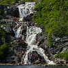 Beautiful waterfall at the head of Bay Le Moine