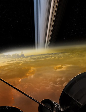 Artist's Rendering of Cassini Final Moments