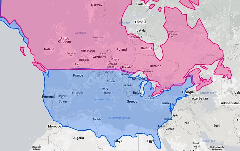 Latitudes of Europe