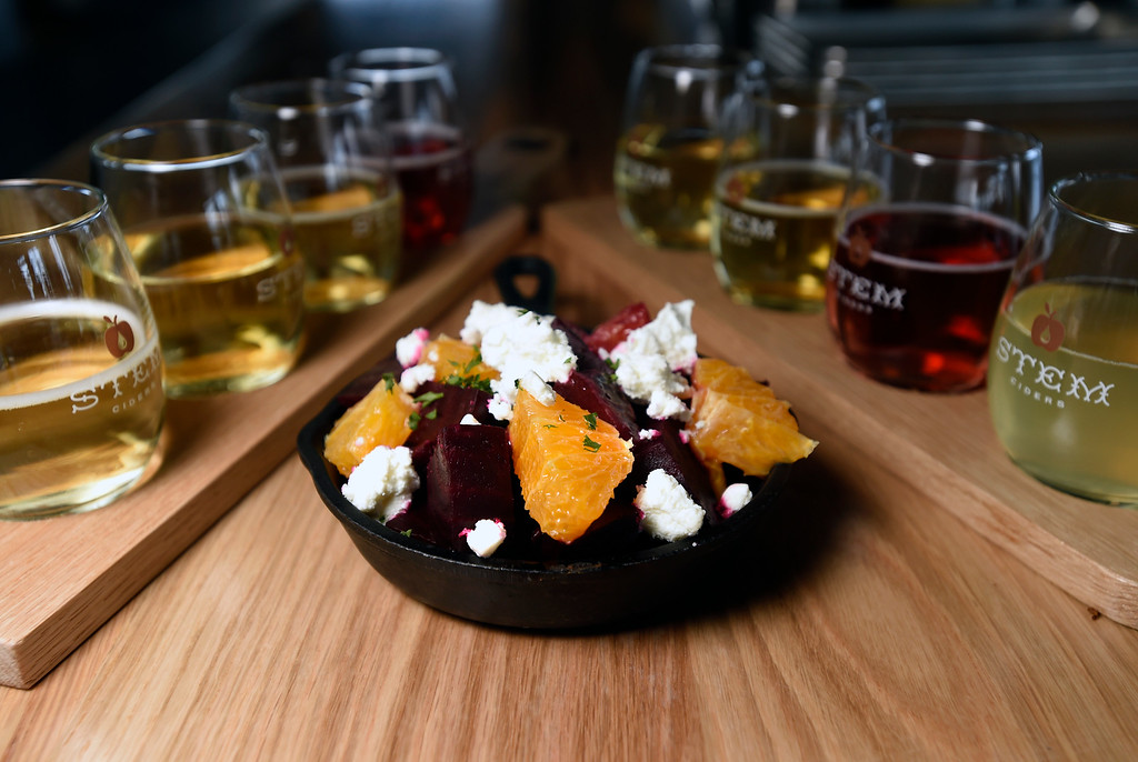. Ember beet salad with sheep\'s milk cheese, blood orange and sherry vinegar molasses at Acreage by Stem Ciders restaurant on Thursday in Lafayette. For more photos of the restuarant and the food go to dailycamera.com Jeremy Papasso/ Staff Photographer 04/12/2018