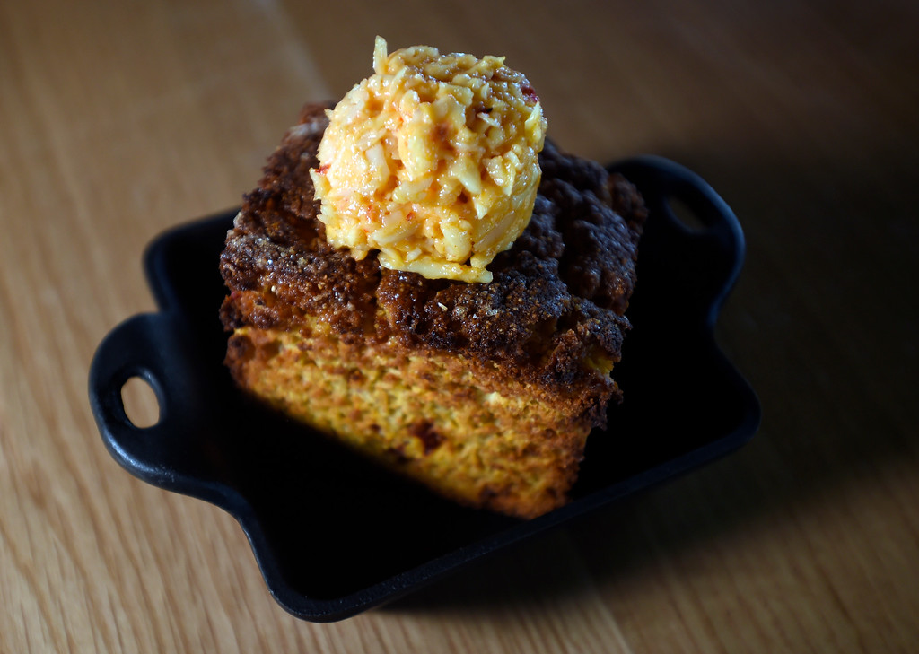 . Cast iron cornbread with Sweet Grass Dairy pimento cheese at Acreage by Stem Ciders restaurant on Thursday in Lafayette. For more photos of the restuarant and the food go to dailycamera.com Jeremy Papasso/ Staff Photographer 04/12/2018