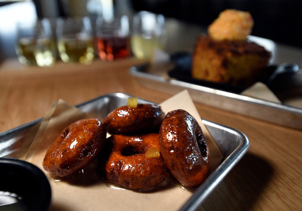 . Cider donuts with a Stem Pear glaze at Acreage by Stem Ciders restaurant on Thursday in Lafayette. For more photos of the restuarant and the food go to dailycamera.com Jeremy Papasso/ Staff Photographer 04/12/2018