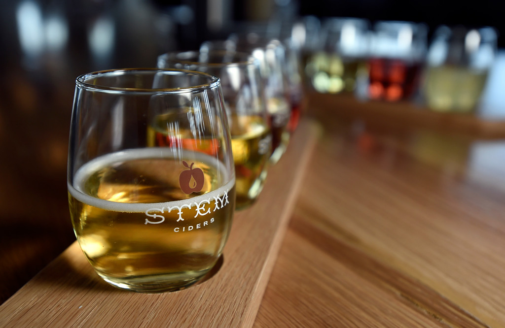 . A flight of cider samples at Acreage by Stem Ciders restaurant on Thursday in Lafayette. For more photos of the restuarant and the food go to dailycamera.com Jeremy Papasso/ Staff Photographer 04/12/2018