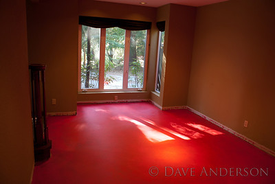 The Pepto-colored RedGard dries to a deep red color. It's an extremely tough, thick, durable membrane. It's normally used to seal around tubs and showers before tiling but it's also great for sealing a concrete slab when you want to make sure your hardwood floor outlasts you. :)