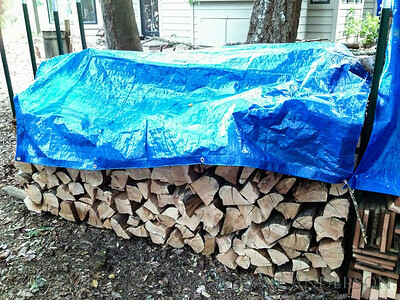 """After"" -- My neighbor brought his splitter over this weeekend and we processed all of the split wood on this side. This section is all madrone that's been dead for a few years, ready to burn."