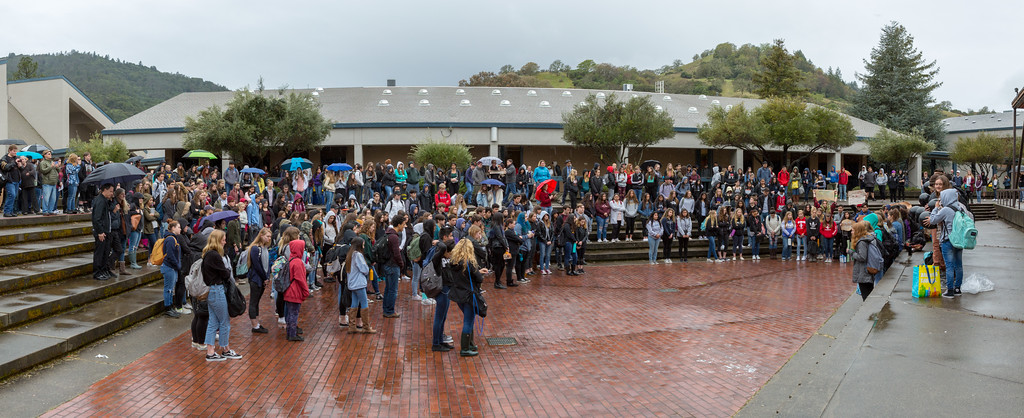 . Students from Ukiah High School walked out of class March 14, 2018, as part of the National School Walkout protests organized by the Woman�s March to decry Congress� inaction to do more in response to the gun violence occurring at schools. (Chris Pigh -- Ukiah Daily Journal)