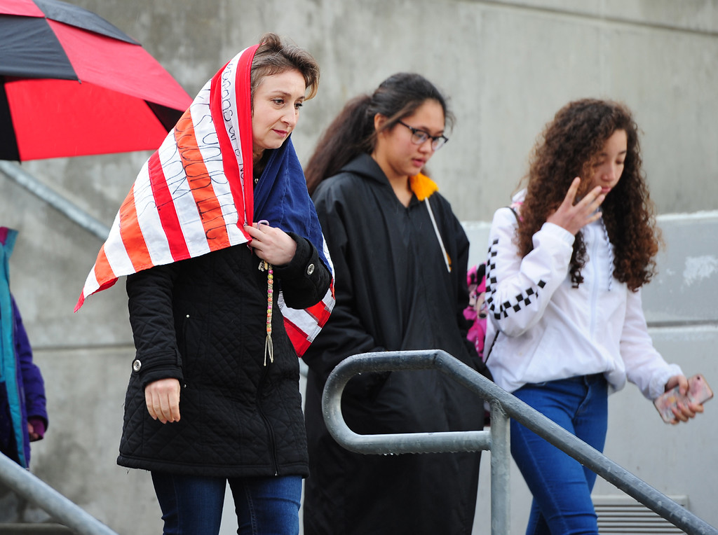 . VALLEJO, CA - MARCH 15, Students and teachers at Jesse Bethel High School leave class to protest gun violence during a nation-wide walk out to remember the 17 victims of the school shooting in Parkland, Florida. (CHRIS RILEY/TIMES-HERALD)