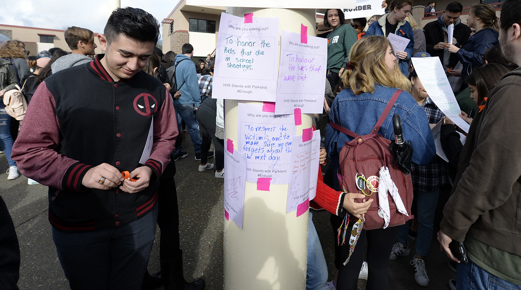 . Students at Vacaville High School wrote messages on why they were participating in the National School Walkout and posted them around the quad in front of the English building. Joel Rosenbaum -- The Reporter