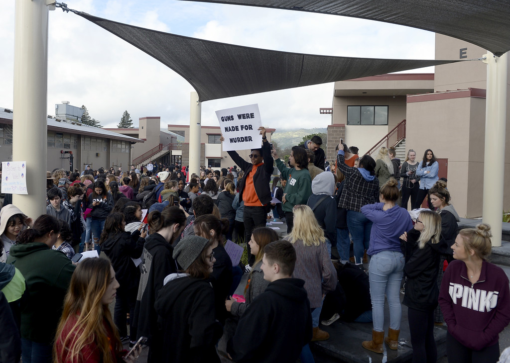. Surrounded by his fellow schoolmates, Brandyn Silva, 17 a senior at Vacaville High School holds a sign protesting gun violence while taking part in the National School Walkout Wednesday in the quad in front of the English building. Joel Rosenbaum -- The Reporter