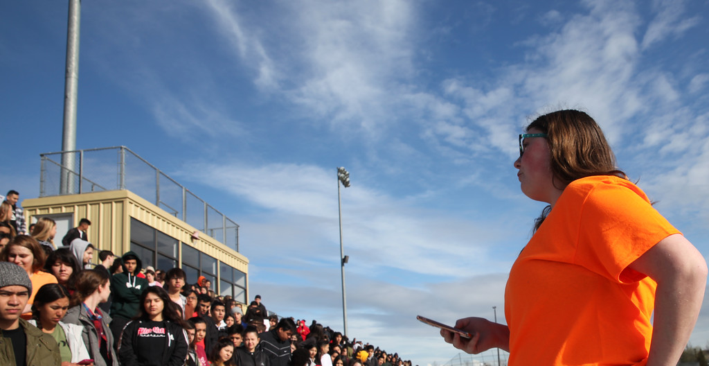 """. Walkout organizer, and student at Pioneer High School, Tara Keeble stands in front of her peers and talks about the reason for the walkout: \""""to make a change.\"""" CINTIA LOPEZ -- WOODLAND DAILY DEMOCRAT"""