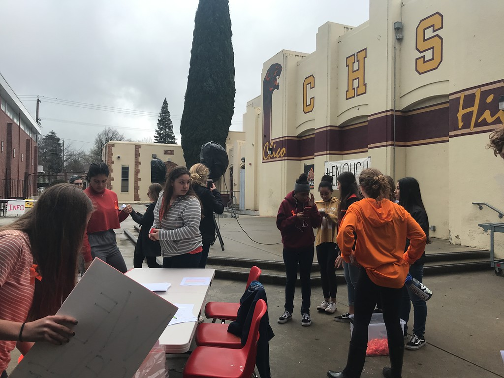 . Chico High student leadership prepare Wednesday, March 14, 2018, in Chico, California for a rally as part of the walkout to protest school shootings and the inaction of lawmakers to quell the violence. (Dan Reidel -- Chico Enterprise-Record)