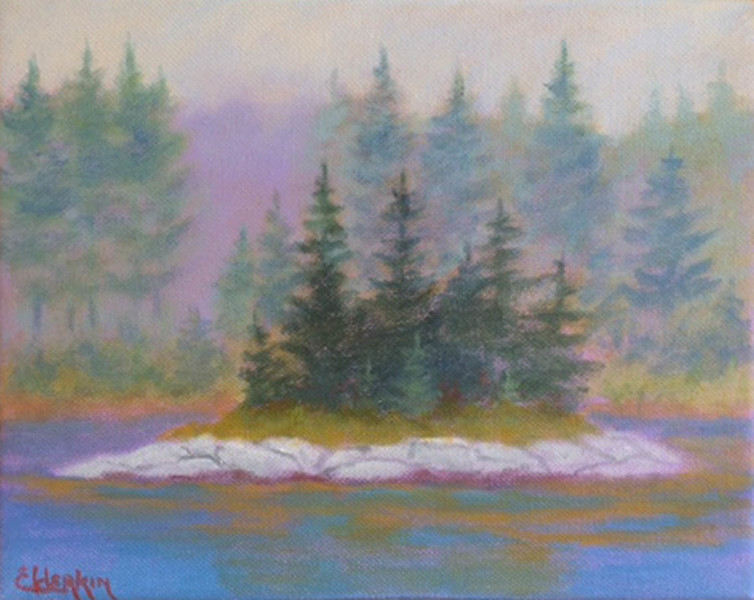 Fog on the Island  8 x 10 Acrylic