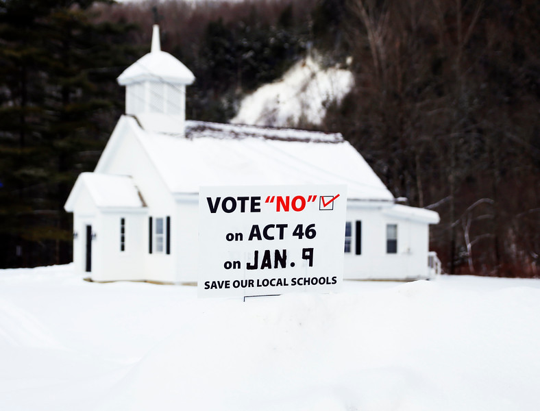 HOLLY PELCZYNSKI - BENNINGTON BANNER Voters head back to the polls in Woodford to vote on Act 46 on Tuesday at the Woodford town offices.