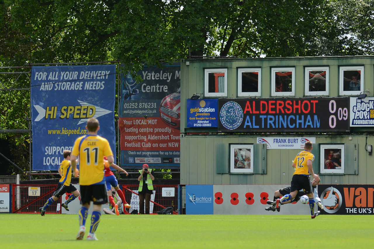 After 9 minutes Brett Williams (hidden) puts Aldershot ahead