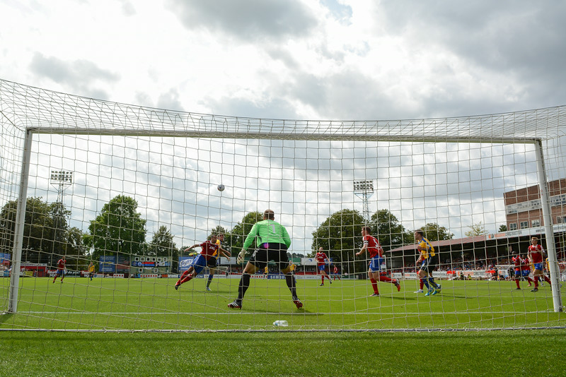 Altrincham attacks on the Aldershot goal are rare