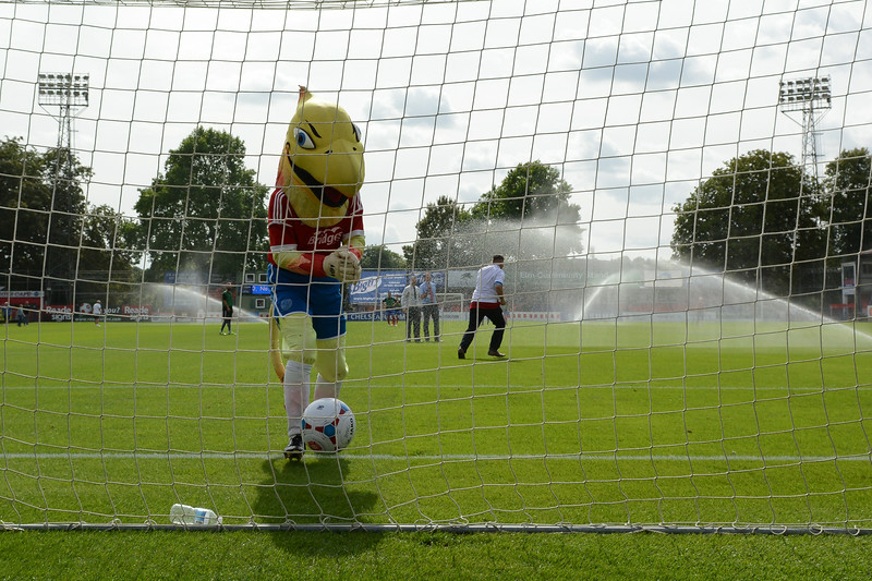 The mascot is beaten from the penalty spot at half time