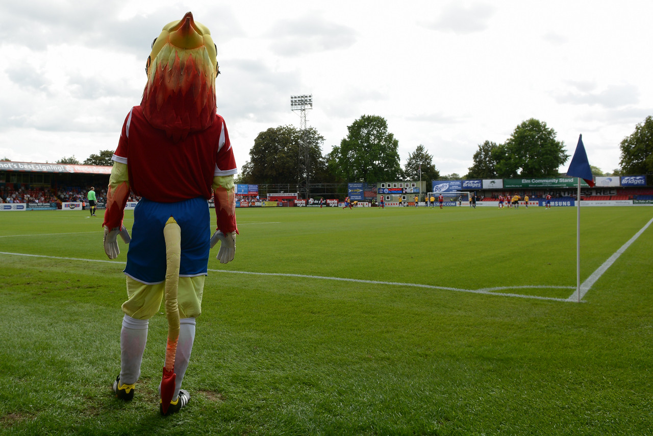 The mascot watches the action in the 1st half