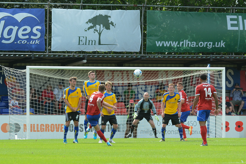 Damon Lathrope with a free kick for Aldershot