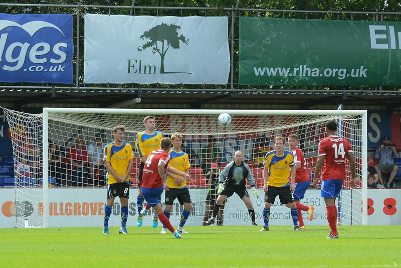 Damon Lathrope with a free kick for Aldershot