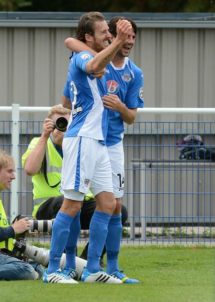 Jack Midson celebrates his goal