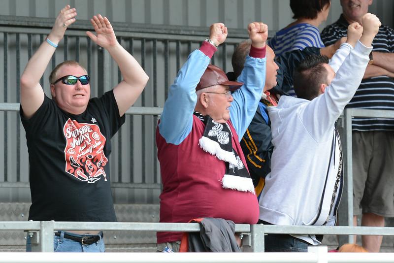 Gateshead fans celebrate the equaliser scored by Alex Rodman
