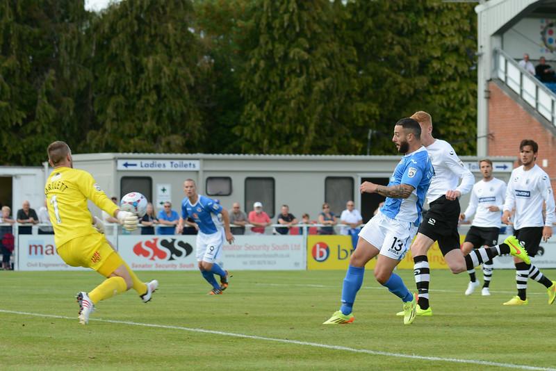 Stuart Fleetwood is denied by Gateshead keeper Adam Bartlett