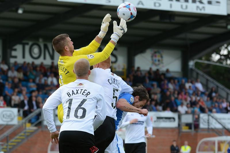 Gateshead keeper Adam Bartlett makes the catch