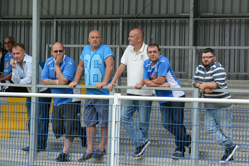 Eastleigh owner Stewart Donald watches on from the terraces