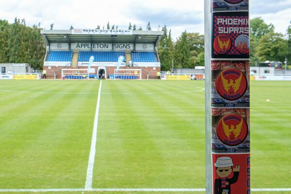 Reminders at the Silverlake Stadium of Aldershot's visit on Thursday