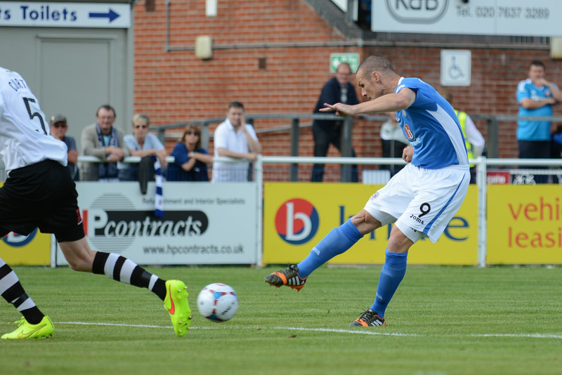 James Constable with an early shot on goal