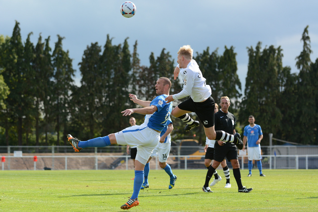 James Constable is beaten in the air