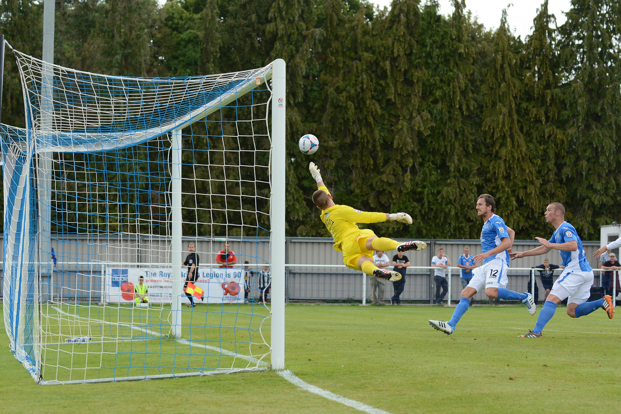 and heads the Eastleigh equaliser