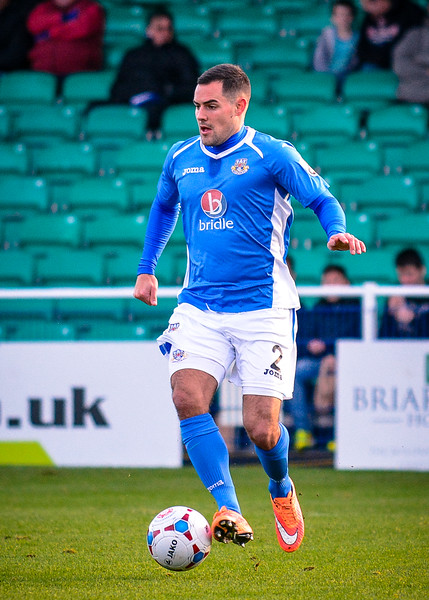 Dan Spence of Eastleigh during the Vanarama Conference Premier match between Eastleigh and Lincoln City at the Silverlake Stadium, Eastleigh on January 10th 2015 (photo by Paul Paxford/Pitchside Photo)