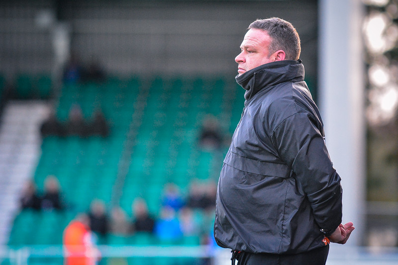 Lincoln manager Chris Moyses during the Vanarama Conference Premier match between Eastleigh and Lincoln City at the Silverlake Stadium, Eastleigh on January 10th 2015 (photo by Paul Paxford/Pitchside Photo)