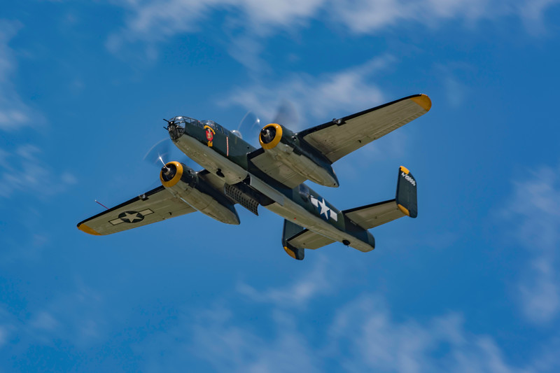 The B-25 performs at the 2017 Vectren Dayton Air Show to commemorate the anniversary of Jimmy Doolittle's raid.