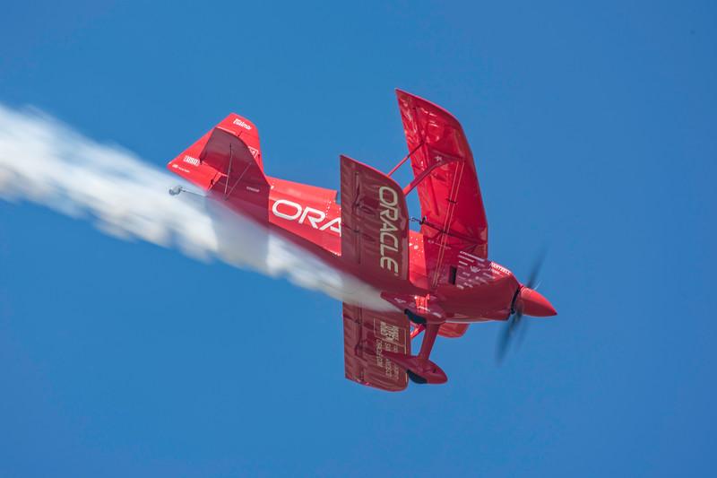 Sean D Tucker with smoke on, performs his world champion aerobatics at the 2017 Vectren Dayton Air Show.