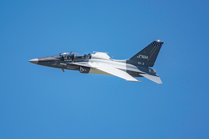 One of the US Air Force's newest training jets, the Lockheed Martin T-50A in a high speed pass at the 2017 Vectren Dayton Air Show.