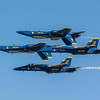 "US Navy Blue Angels "" 2 Up"" and 2 ""Down"" pass in front of the crowd at the Wings Over Houston Air Show, November 2014."