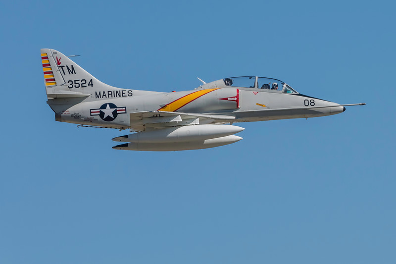 Douglass A-4 Skyhawk, a former US Navy carrier based main stay, performs at the Wings Over Houston Air Show, November 2014.