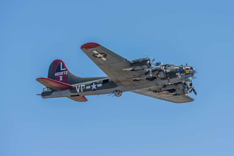 B-17 Superfortress in the air at the Wings Over Houston Air Show, November 2014.<br /> <br /> Image 1 of 2