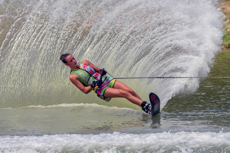 Kassidy Hawkins negotiates the slalom course during her qualifying run during the IHW event at the 2015 Southern Regional Water Skiing Championships held in Paducah, KY on Sunday, July 26, 2015.