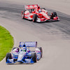 Teammates Dario Franchitti and Scott Dixon on the course during practice for the Honda Indy Car 200 at the Mid Ohio Sports Car Complex at Lexington, Ohio